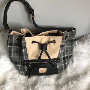 Coco + Carmen Plaid & Cream Cross Body Bag
